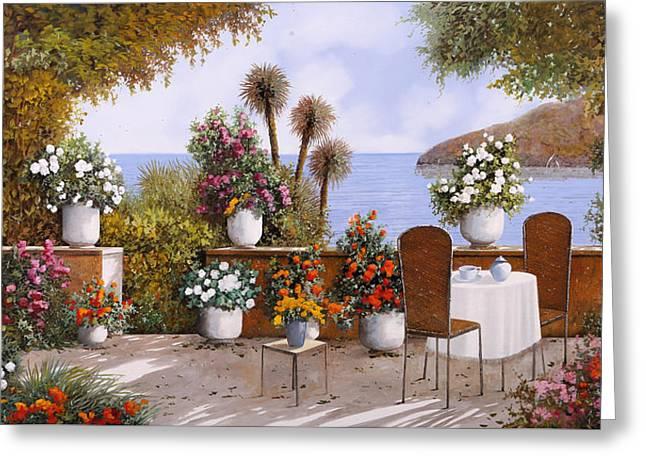 Un Caffe Davanti Al Lago Greeting Card by Guido Borelli