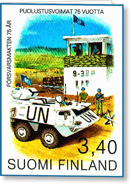 Un Checkpoint Of Finnish Battalion Greeting Card by Lanjee Chee
