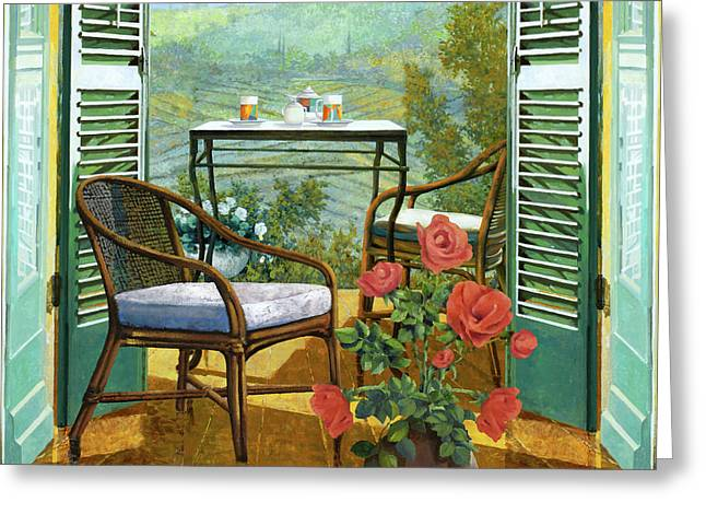 Un Vaso Di Rose Greeting Card by Guido Borelli