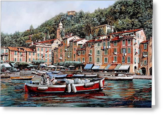 Una Lunga Barca Rossa Greeting Card by Guido Borelli