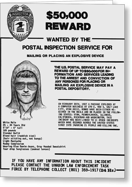 Unabomber Ted Kaczynski Wanted Poster 1 Greeting Card by Tony Rubino