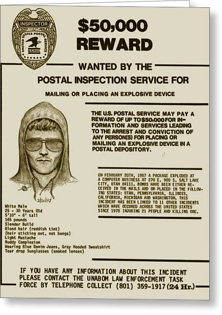 Unabomber Ted Kaczynski Wanted Poster 2 Greeting Card by Tony Rubino