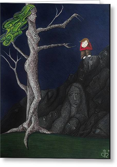 Greeting Card featuring the drawing Unalone by Danielle R T Haney