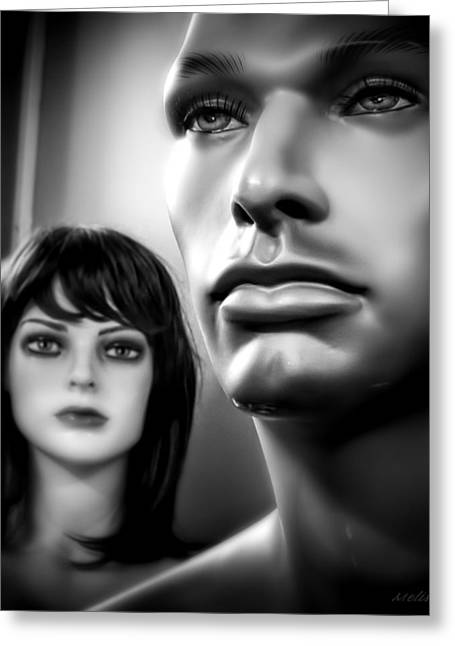 Unattainable Love Mannequins Black And White Greeting Card by Melissa Bittinger