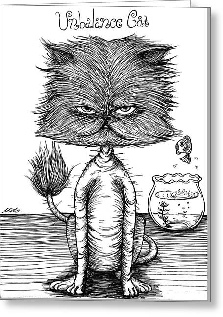 Unbalance Cat Greeting Card