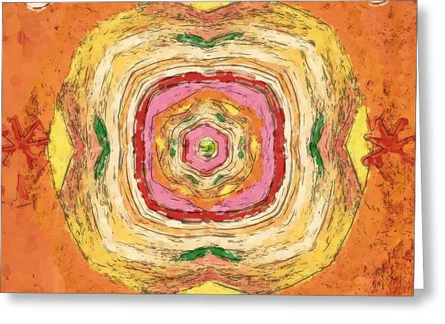 Greeting Card featuring the painting Unbalanced Mandala by Shelley Bain