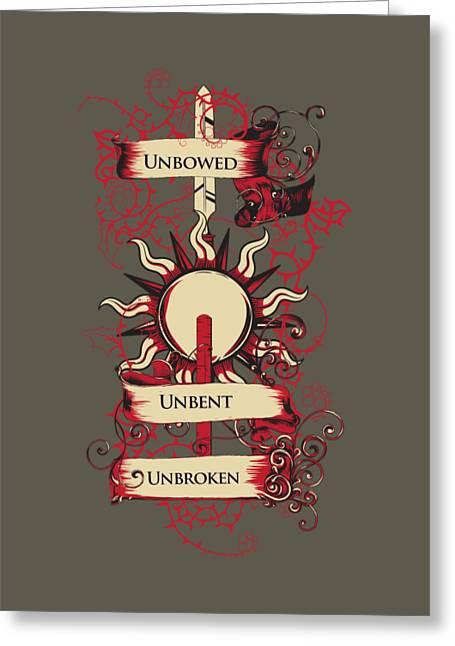 Unbowed Unbent Unbroken Greeting Card