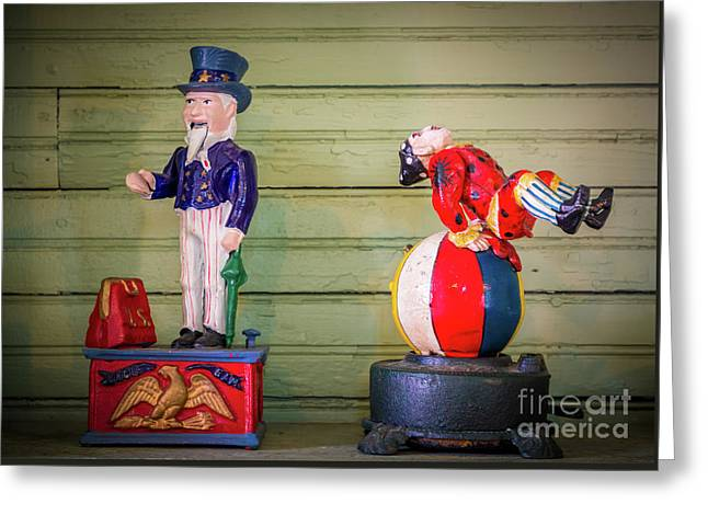 Uncle Sam And The Clown Greeting Card by Inge Johnsson