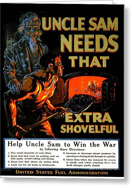 Uncle Sam Needs That Extra Shovelful Vintage Poster Greeting Card by Carsten Reisinger