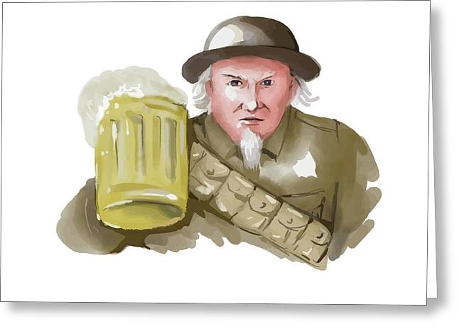 Uncle Sam Ww1 Soldier Toasting Beer Watercolor Greeting Card