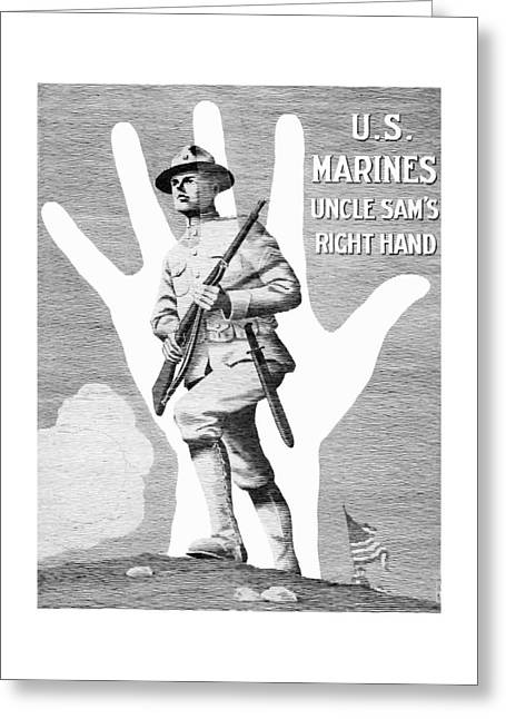 Uncle Sam's Right Hand - Us Marines Greeting Card