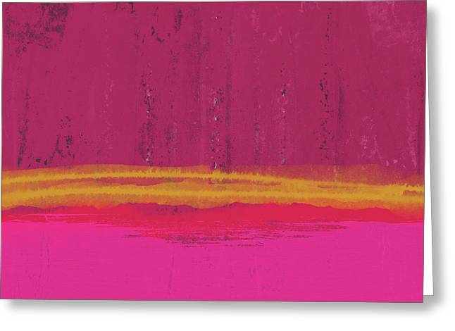 Undaunted Pink Abstract- Art By Linda Woods Greeting Card by Linda Woods