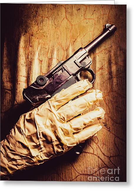 Undead Mummy  Holding Handgun Against Wooden Wall Greeting Card