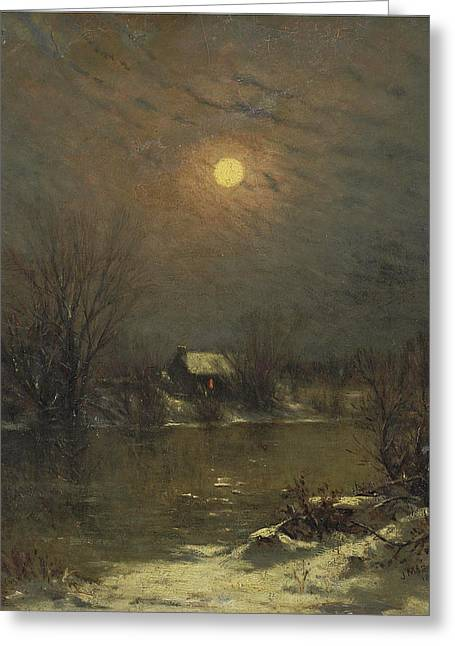 Under A Full Moon Greeting Card by Jervis McEntee