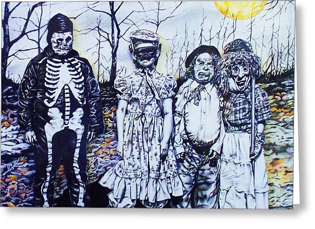 Under A Halloween Moon Greeting Card by Michael Lee Summers