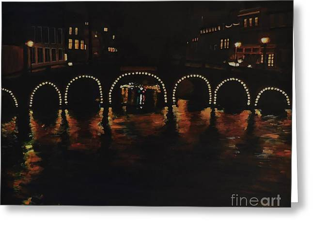 Under A Lighted Bridge In Amsterdam Greeting Card