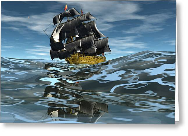 Under Full Sail Greeting Card by Claude McCoy