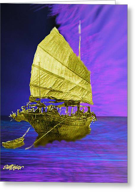 Greeting Card featuring the digital art Under Golden Sails by Seth Weaver