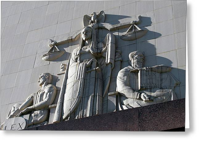 Under Scales Of Justice Greeting Card