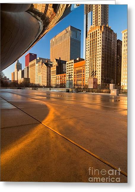 Under The Bean And Chicago Skyline At Sunrise Greeting Card
