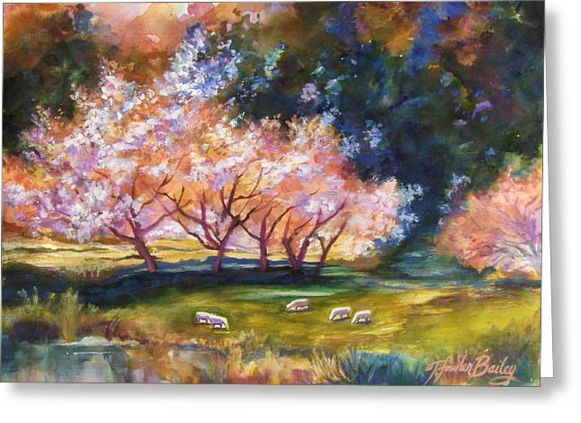 Under The Blossom Trees Sold Greeting Card by Therese Fowler-Bailey