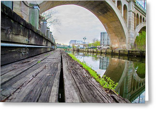 Under The Bridge - The Manayunk Canal Towpath Greeting Card