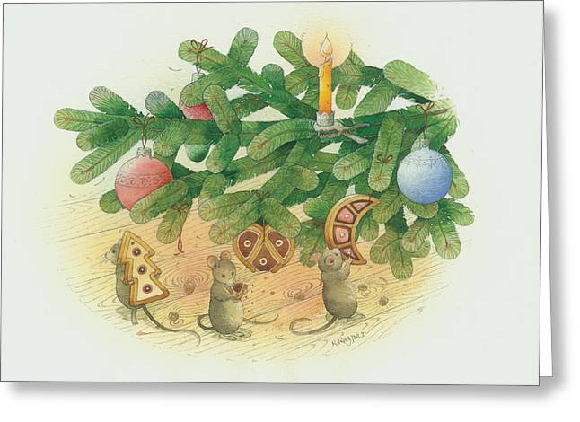 Under The  Christmas Tree Greeting Card by Kestutis Kasparavicius