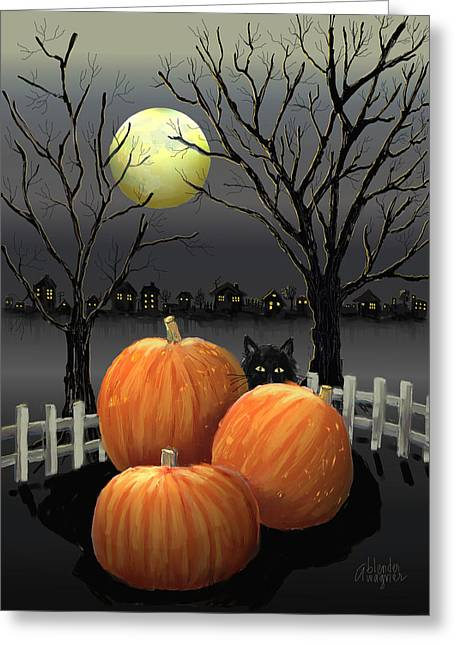 Halloween Greeting Cards - Under The Full Moon Greeting Card by Arline Wagner