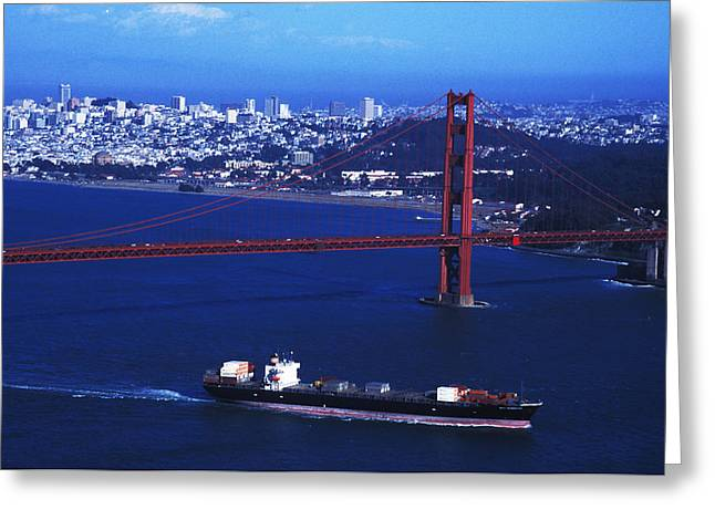 Under The Golden Gate Greeting Card by Carl Purcell