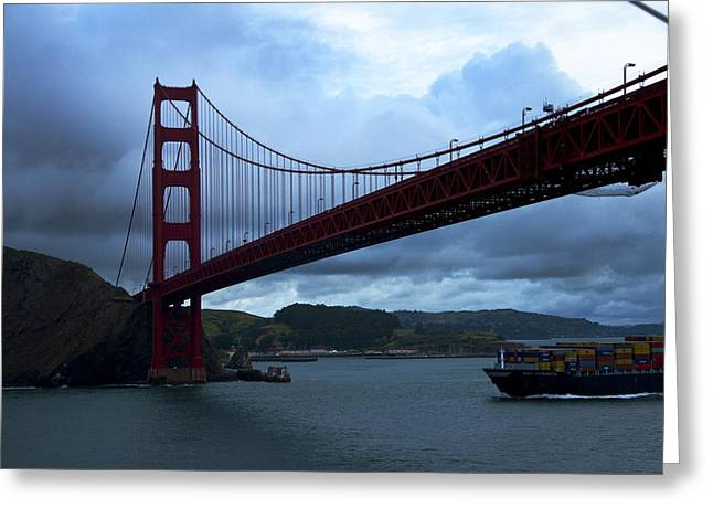 Under The Golden Gate In Early Morning Light  Greeting Card