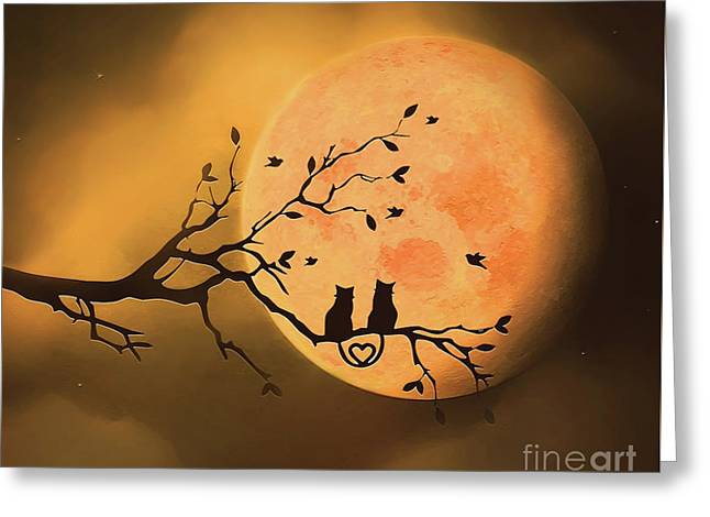 Under The Harvest Moon Greeting Card