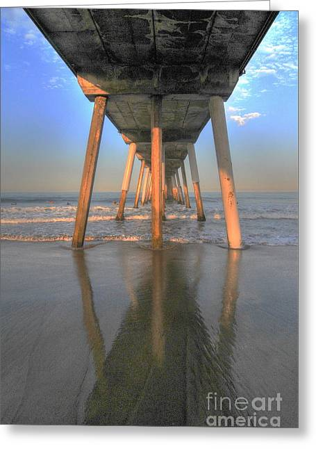 Under The Hermosa Pier Greeting Card