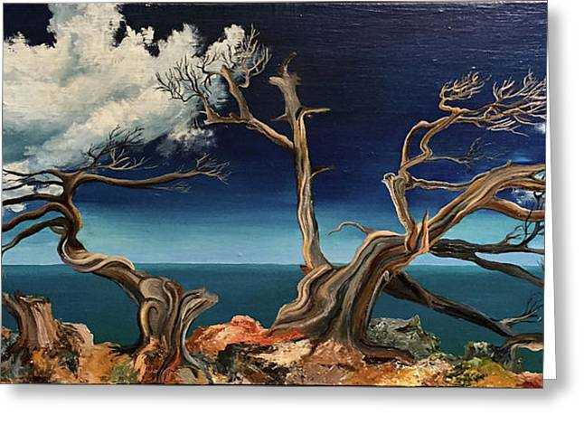 Under The Influence Of Winds / Original Oil Painting On Stretched Canvas Greeting Card by Svetoyara Rysenko
