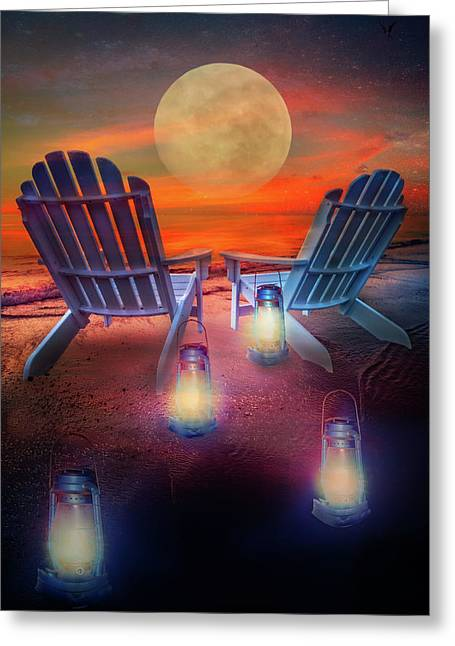 Greeting Card featuring the photograph Under The Moon by Debra and Dave Vanderlaan