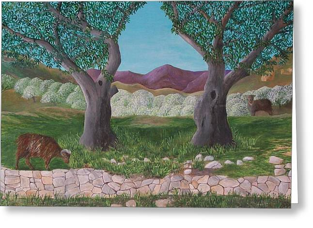 Under The Olive Trees Greeting Card