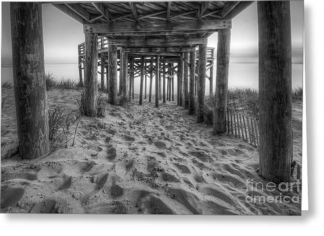 Under The Overlook In Sleeping Bear Dunes Black And White Greeting Card
