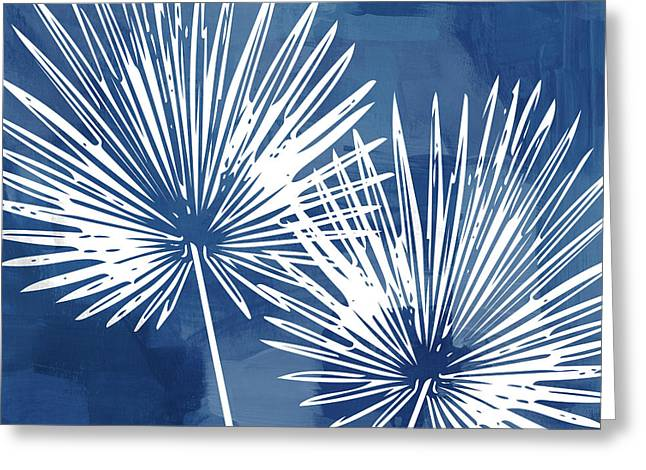 Under The Palms- Art By Linda Woods Greeting Card by Linda Woods