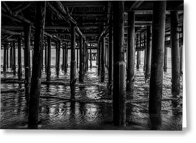 Under The Pier - Black And White Greeting Card
