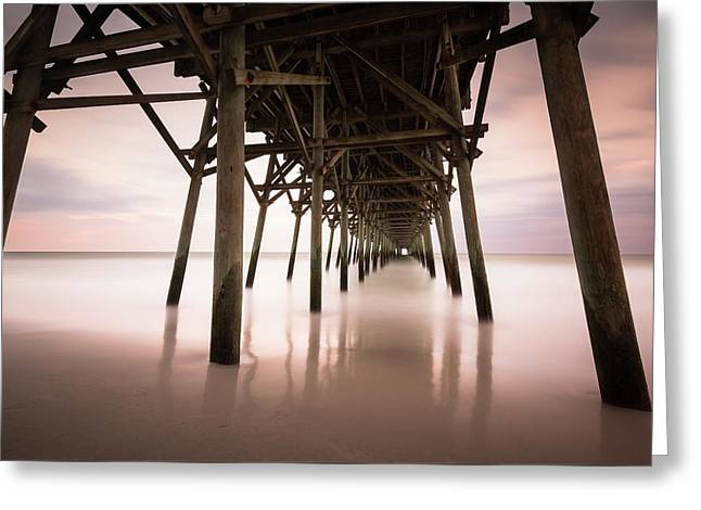 Under The Pier Sunset, Garden City Greeting Card by Ivo Kerssemakers