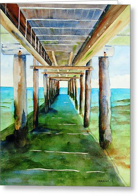 Under The Playa Paraiso Pier Greeting Card
