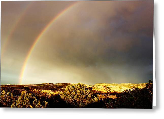 Under The Rainbow Greeting Card by Magdalena Green