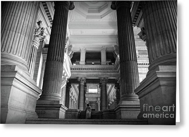 Greeting Card featuring the photograph Under The Scaffolding Of The Palace Of Justice - Brussels by RicardMN Photography