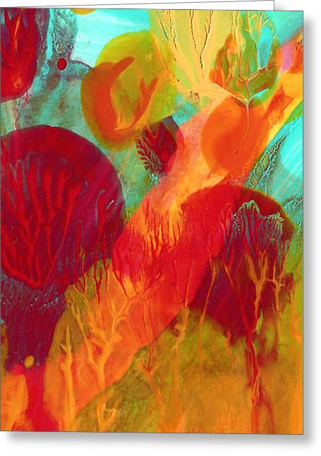 Under The Sea Abstract Panoramic 2 Greeting Card by Amy Vangsgard