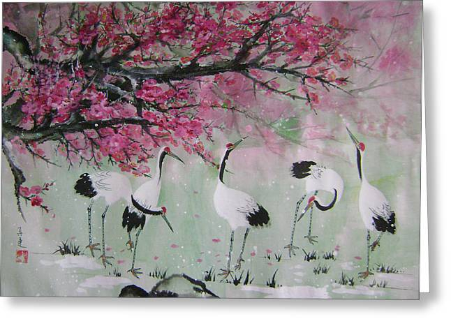 Under The Snow Plums 2 Greeting Card by Lian Zhen