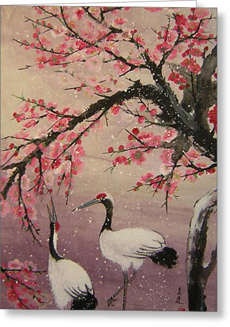 Under The Snow Plums1 Greeting Card by Lian Zhen