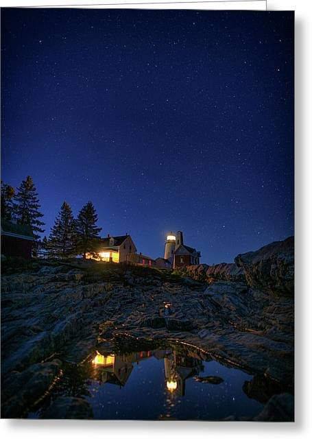 Under The Stars At Pemaquid Point Greeting Card by Rick Berk