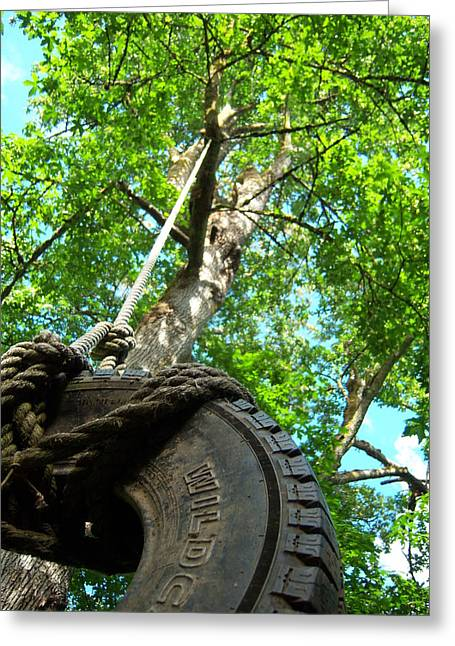 Under The Tire Swing Greeting Card by Ken Day