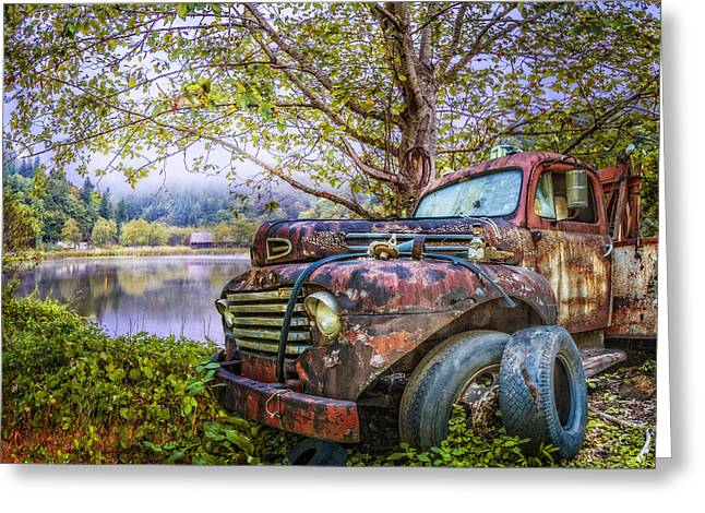 Under The Trees Greeting Card by Debra and Dave Vanderlaan