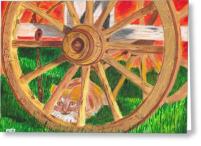 Under The Wagon Greeting Card by David Bigelow