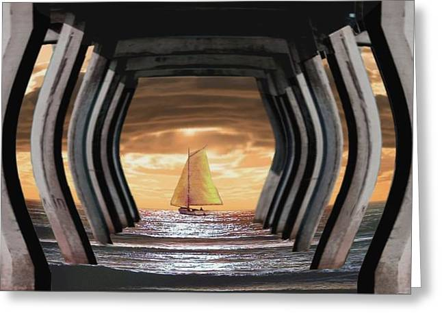 Under The Wharf Greeting Card by Ron Chambers